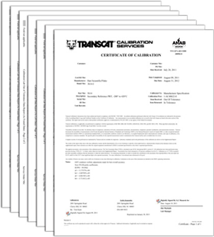 Transcat Calibration Services Certification